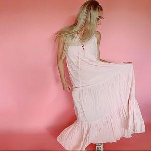 Light Pink Crinkle Ruffle Layered Maxi Dress